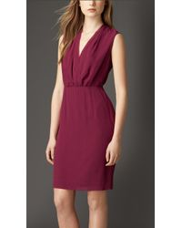 Burberry Sleeveless Silk Dress - Lyst