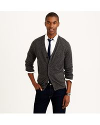 J.Crew Italian Cashmere V-Neck Cardigan Sweater In Dot - Lyst
