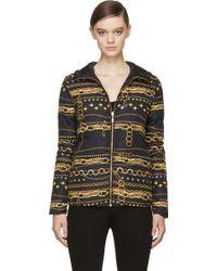 Versus  Black Reversible Chain Print Puffer Jacket - Lyst