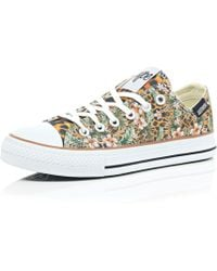 River Island Brown Hype Jungle Print Low Rise Plimsoll - Lyst