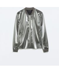 Zara Shiny Grey Jacket - Lyst