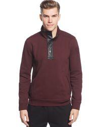 DKNY Faux-leather Trim Sweatshirt - Lyst