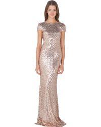 Badgley Mischka Sequin Cowl Back Evening Gown gold - Lyst