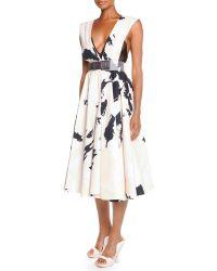 Donna Karan New York Splatter-Brush Belted Dress - Lyst