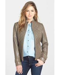 Via Spiga Quilted Lambskin Leather Jacket - Lyst