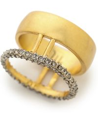 Madewell - Pave Double Ring - Vintage Gold - Lyst