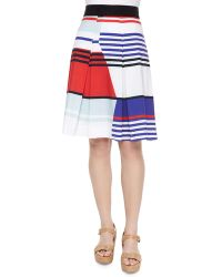 Milly Marina Striped Pleated Skirt - Lyst