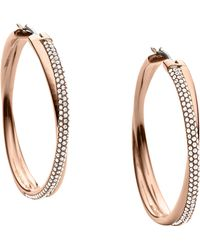 Michael Kors Crisscross Pave Hoop Earrings - Lyst