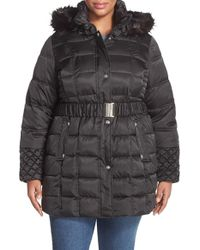Betsey Johnson - Belted Coat With Faux Fur Trim Hood - Lyst