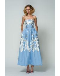 Bibhu Mohapatra | Blue Silk Strapless Gown | Lyst
