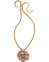 Oscar de la Renta - Flower Brooch Necklace - Lyst