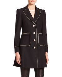 RED Valentino Contrast-Trim Wool-Blend Coat black - Lyst