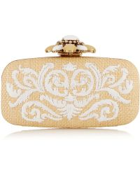 Oscar de la Renta Goa Embroidered Raffia Box Clutch - Lyst