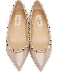 Valentino Pink Patent Leather Rockstud Flats - Lyst