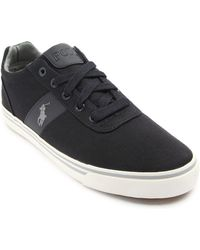 Polo Ralph Lauren Hanford Coal Grey Canvas Sneakers - Lyst