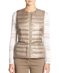 Peserico Belted Puffer Vest - Lyst