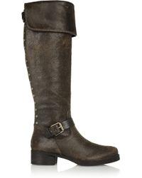 Tory Burch Tarulli Distressed Leather Overtheknee Boots - Lyst