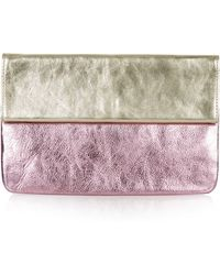 Topshop Womens Twotone Metallic Leather Clutch  Pink - Lyst