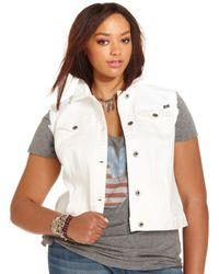11e814ef47992 Lucky Brand - Lucky Brand Plus Size Denim Vest Alabaster Wash - Lyst