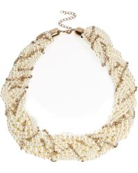 River Island Gold Tone Pearl and Crystal Twisted Necklace - Lyst