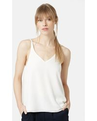 Topshop Strappy V-Neck Camisole beige - Lyst