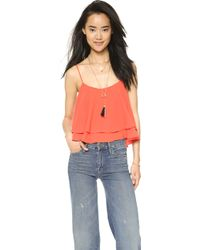 Free People Tropical Wave Crop Top - Cream red - Lyst