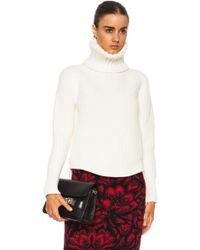 Alexander McQueen Engineered Rib Patchwork Wool Blend Turtleneck - Lyst
