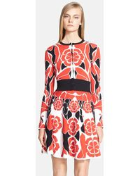 Alexander McQueen Women'S Intarsia Knit Crewneck Cardigan - Lyst