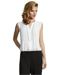 BCBGMAXAZRIA Ivory Sheer Woven 'Leanne' Button Front Blouse - Lyst