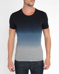 IKKS | Blue/grey Tie And Dye Patch Pocket Round-neck T-shirt | Lyst