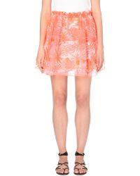 Maje Jade Floral-Embroidered Skirt - For Women orange - Lyst