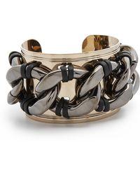 Pluma - Leather Cuff Link Bracelet - Lyst