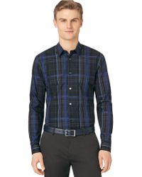 Calvin Klein Regular Fit Roadmap Plaid Sport Shirt - Lyst