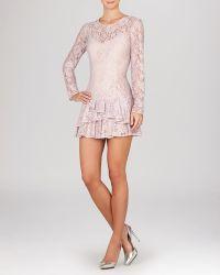 BCBGMAXAZRIA Dress - Lysa Illusion Lace Ruffle Hem - Lyst