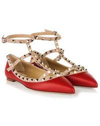 Valentino Red Ballerinas 'Rockstud' Shoes - Lyst