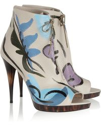 Burberry Prorsum Painted Texturedleather Ankle Boots - Lyst