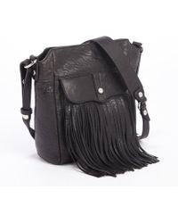 Rebecca Minkoff Black Leather Mini Finn Fringe Bucket Bag - Lyst