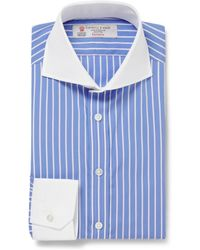 Turnbull & Asser Striped Contrast Collar Cotton Shirt - Lyst