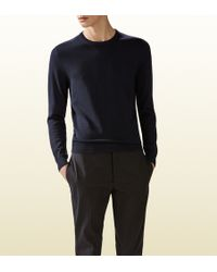 Gucci Wool Cashmere Sweater with Leather Detail - Lyst