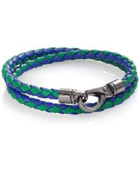 Tod's Braided Leather Bracelet green - Lyst