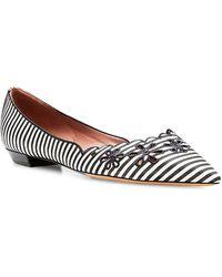 Tabitha Simmons Daisy Chain Perforated Silk Striped Flats - Lyst