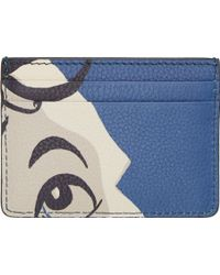 Burberry Prorsum - Blue And Beige Leather The Writer Cardholder - Lyst