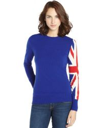 C3 Collection Blue And Red Cashmere 'Union Jack' Crewneck Sweater - Lyst