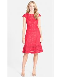 Tadashi Shoji Embroidered Cotton-Blend Fit and Flare Dress - Lyst