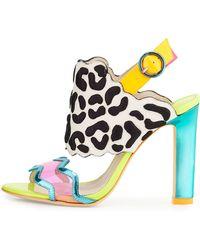 Sophia Webster Dionne Leopard-Embroidered Slingback Sandal - Lyst