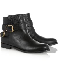 Burberry Buckled Leather Ankle Boots - Lyst