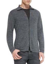 John Varvatos Zip-front Sweater - Lyst