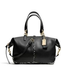 COACH - Bleecker Small Cooper Satchel in Two Tone Python Embossed Leather - Lyst