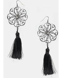 Asos Filigree Flower Tassel Earrings - Lyst