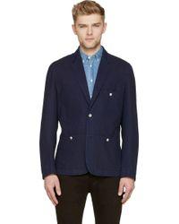 Paul Smith Navy Cotton Checked Blazer - Lyst